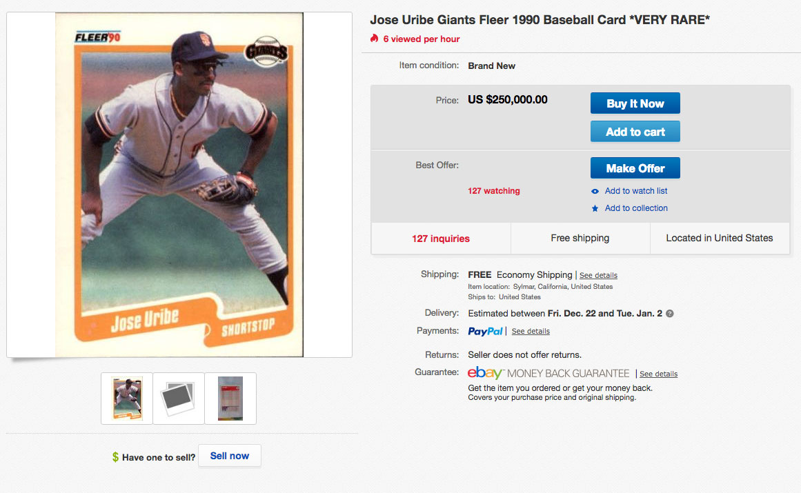 1990 Fleer Jose Uribe Baseball Card Why Is It Worth So Much