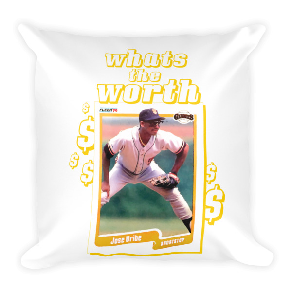 Whats The Worth Jose Uribe 1990 Fleer Square Throw Pillow